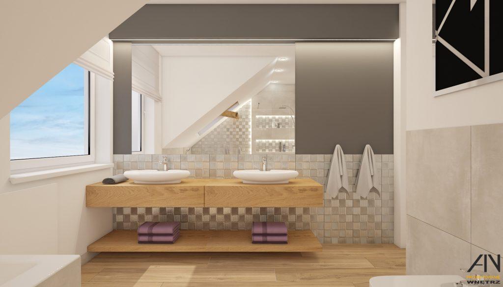 Projekt łazienki Z Drewnem Ain Projektowanie Wnętrz