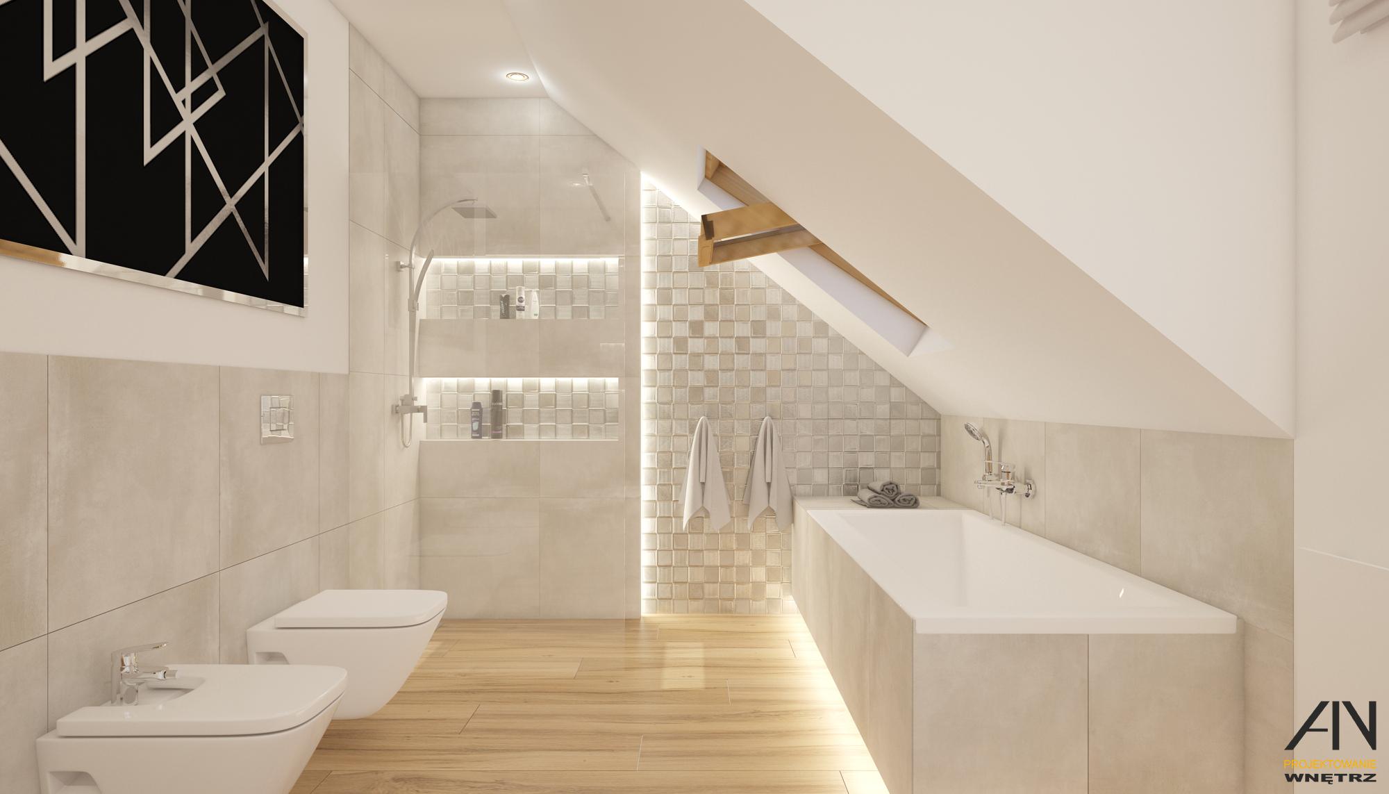 łazienka Z Drewnem W Dużym Domu Ain Warszawa