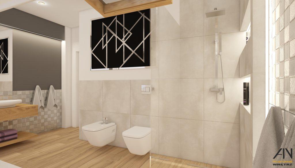 projekt łazienki z drewnem
