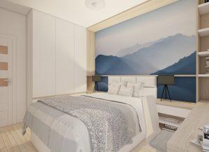 wizualizacja sypialni skandynawskiej