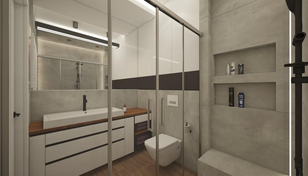 Projekt I Aranżacja Wnętrza łazienki Ain Warszawa